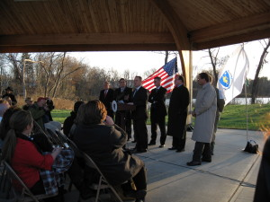 Massachusetts Lt. Gov. Tim Murray and other state and local officials announce the MassWorks grants at Millside Park along the Manhan Rail Trail in Easthampton Nov. 9, 012.